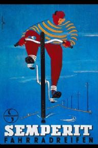 Vintage German cycling poster - Samperit unicycles